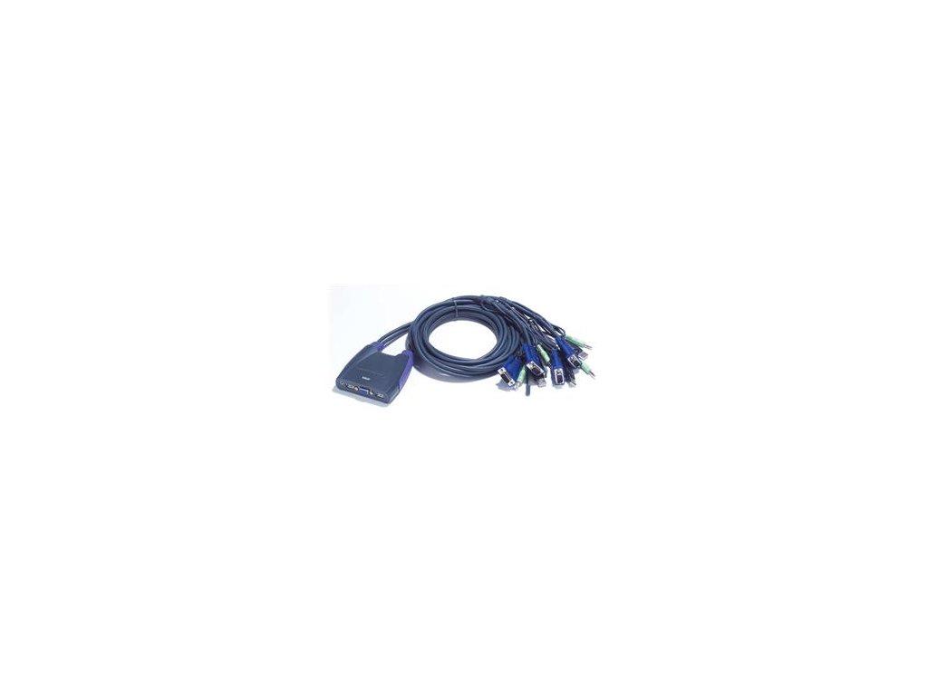 Aten 4-port KVM USB mini, audio, 1.8m kabely