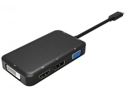 PremiumCord Převodník USB3.1 typ C na HDMI + DVI + VGA + DisplayPort + PD charge + 3,5mm Audio