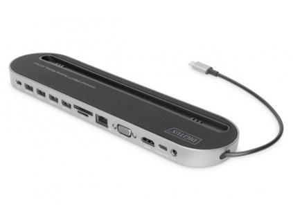 Digitus 12portová dokovací stanice USB-C, šedá, HDMI, VGA, 2x USB-C, 4x USB-A, RJ45, 1x 3,5 mm, SD / MicroSD