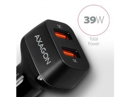 AXAGON PWC-DQC, dual QUICK nabíječka do auta, 2x port QC3.0/AFC/FCP/PE+/SMART, 39W