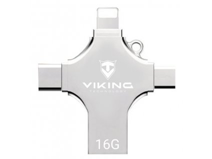 VIKING USB FLASH DISK 16G, 4v1 S KONCOVKOU APPLE LIGHTNING, USB-C, MICRO USB, USB-A