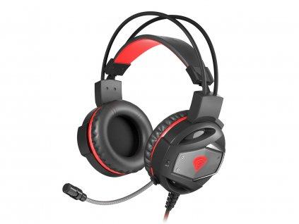 Herní sluchátka s mikrofonem Genesis Neon 350, Stereo, Vibrace, červené podsvícení