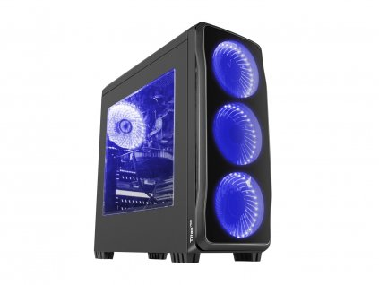 Počítačová skříň Genesis Titan 750 BLUE MIDI (USB 3.0), 4 ventilátory s modrým podsvícením