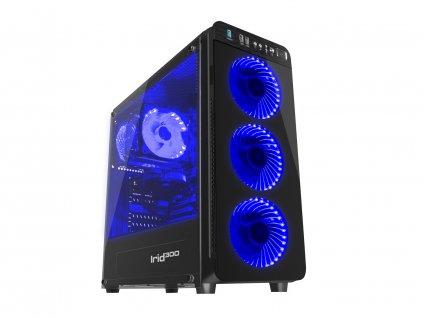 Počítačová skříň Genesis IRID 300 BLUE MIDI (USB 3.0), 4 ventilátory s modrým podsvícením