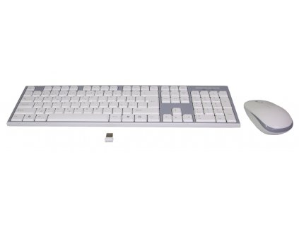 EVOLVEO WK-180, set bezdr. klávesnice a myši, USB, 2,4GHz, CZ/US, bílo-šedý