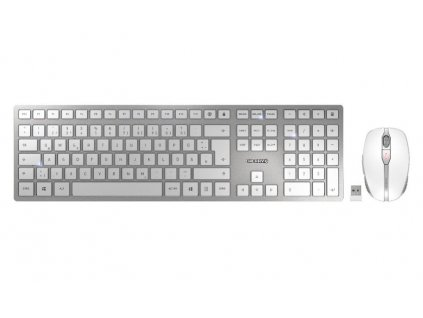 CHERRY set klávesnice a myši DW 9000 slim EU layout stříbrná/bílá