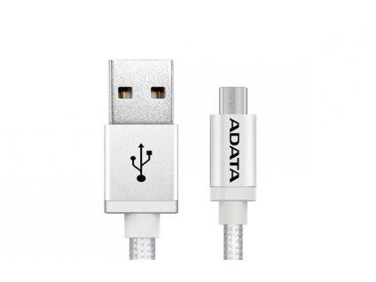 ADATA Micro USB kabel pletený 1m stříbrný