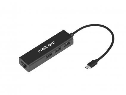 Natec Butterfly USB-C rozbočovač 3x USB 2.0 HUB + RJ45