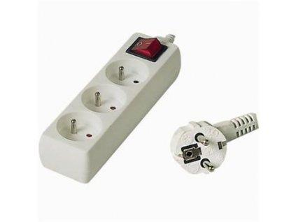 Prodlužovací přívod 230V, 10m, 3 zásuvky + vypínač