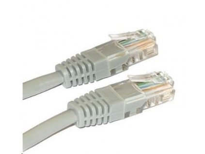 Patch kabel Cat5E, UTP - 0,1m, šedý