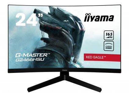 24'' iiyama G-Master G2466HSU-B1: VA, FullHD@165Hz, 1ms, HDMI, DP, USB, FreeSync, zakřivený, černý
