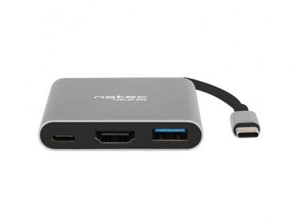 Natec multifunkční adaptér Fowler MINI USB-C PD, USB 3.0, HDMI 4K
