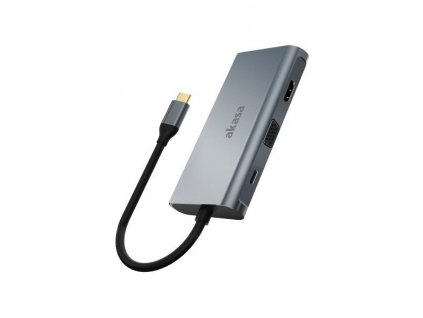 AKASA dokovací stanice 9v1 USB 3.1 Type-C / 1x USB 3.1 Type-C / 3x USB Type-A / 1x HDMI / 1x SD / 1x GLAN / 1x D-Sub