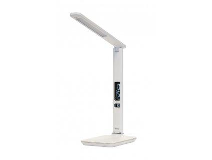 IMMAX LED stolní lampička Kingfisher/ 9W/ 450lm/ 12V/1A/ 3 různé barvy světla/ sklápěcí rameno/ USB/ bílá