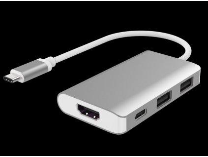 PremiumCord Převodník USB3.1 typ C na HDMI + 2xUSB3.0 + PD charge, Aluminium pouzdro