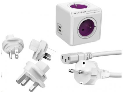 Allocacoc PowerCube ReWirable USB + Travel Plugs + IEC white/purple