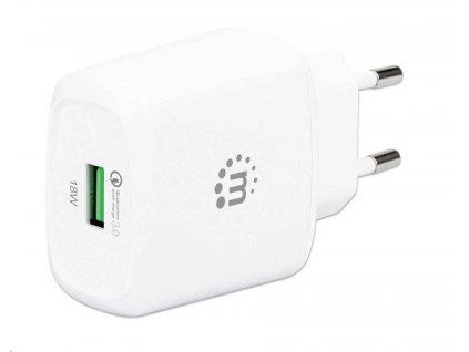 MANHATTAN USB-A nabíječka QC 3.0 Wall Charger - 18 W, USB-A Quick Charge™ 3.0 Port up to 18 W, Europlug, bílá