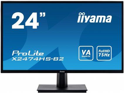 24'' iiyama X2474HS-B2: VA, FullHD@75Hz, 250cd/m2, 4ms, VGA, HDMI, DP, černý