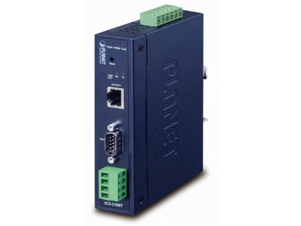 PLANET průmyslový konvertor RS-232/422/485 na IP, 1x COM, 1x 100Base-TX, 9-48VDC, -40~+75°C, IP30, SNMP+Telnet