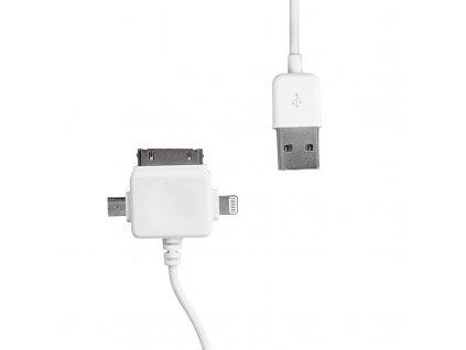 WE Datový kabel micro USB/iPhone4/5 100cm bílý