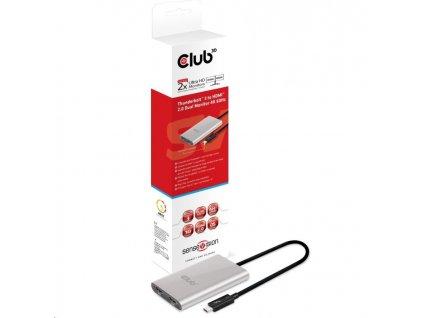 Club3D Adaptér Thunderbolt 3 na 2x HDMI 2.0 4K60Hz UHD
