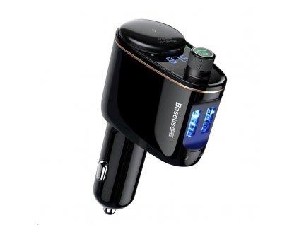 Baseus duální adaptér do auta a Bluetooth FM modulátor s 12V vstupem, černá