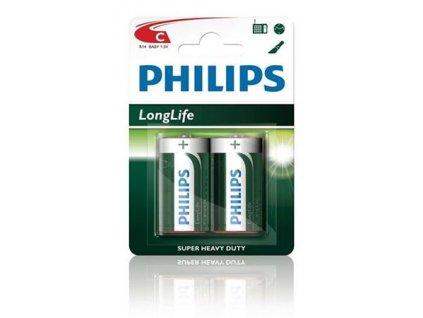 Philips baterie C LongLife zinkochloridová - 2ks, blister