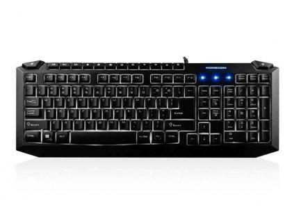 Modecom MC-5008 drátová multimediální podsvícená klávesnice, CZ/SK layout, USB, černá, bílé podsvícení