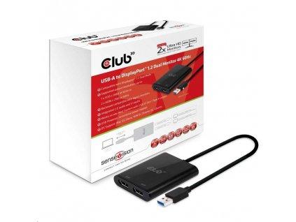 Club3D Adaptér USB A na 2xDisplayPort 1.2 Dual Monitor 4K 60Hz (M/F)