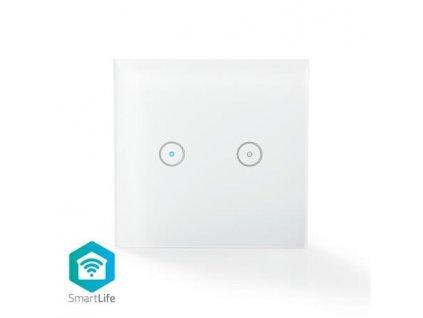 Nedis WIFIWS20WT - SmartLife nástěnný vypínač   Wi-Fi   Dvojitý   Nástěnný Držák   86 mm   86 mm   1000 W   Android & iOS   Bílá