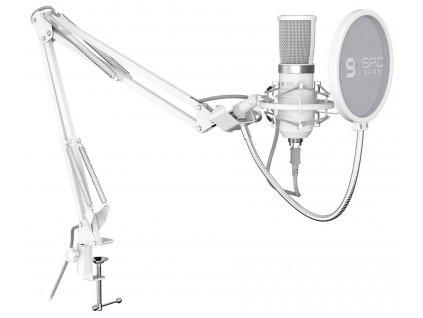 SPC Gear mikrofon SM950 Onyx White Streaming microphone / USB / polohovatelné rameno / pop filtr / bílý