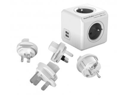 Zásuvka PowerCube REWIRABLE USB Grey + 4x cest. adap., 2x USB, 4 rozbočka, 6A