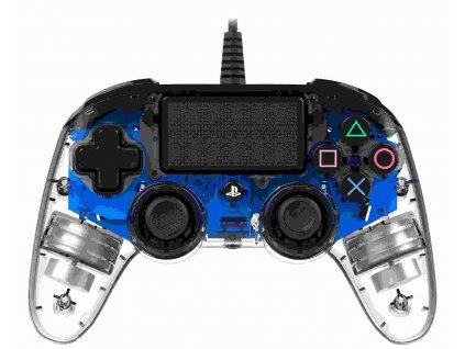 Nacon Wired Compact Controller - ovladač pro PlayStation 4 - průhledný modrý