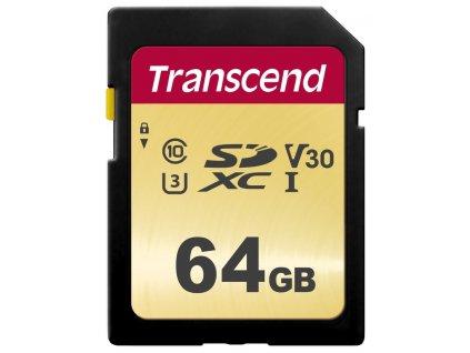 Transcend 64GB SDXC 500S (Class 10) UHS-I U3 V30 MLC paměťová karta, 95 MB/s R, 60 MB/s W