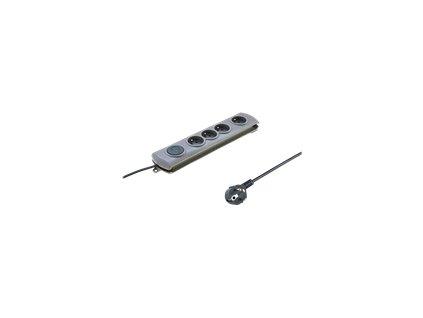 QOLTEC 50163 Qoltec Přepěťová ochrana Quick Switch (4 zásuvek), vypínač, gray 1.5m