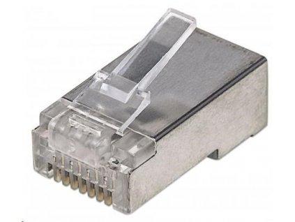 Intellinet konektor RJ45, Cat5e, stíněný STP, 50µ, drát, 100 ks v nádobě
