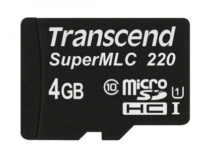 Transcend 4GB microSDHC220I UHS-I U1 (Class 10) SuperMLC průmyslová paměťová karta, 81MB/s R, 46MB/s W, černá
