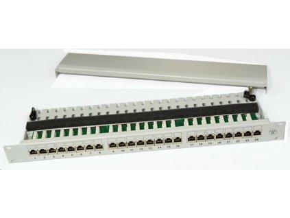 """19"""" Patch panel osazený 19"""" 1U 24 PORT FTP Cat 6A šedý"""