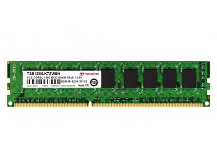 Transcend paměť 4GB DDR3L-1600 ECC-DIMM 1Rx8 CL11