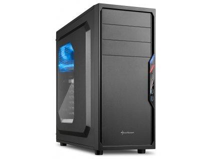Sharkoon skříň VS4-W / Middle Tower / 2x USB3.0 / průhledná bočnice / černá