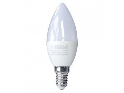 TESLA LED žárovka CANDLE svíčka/ E14/ 6W/ 230V/ 470lm/ 4000K/ denní bílá