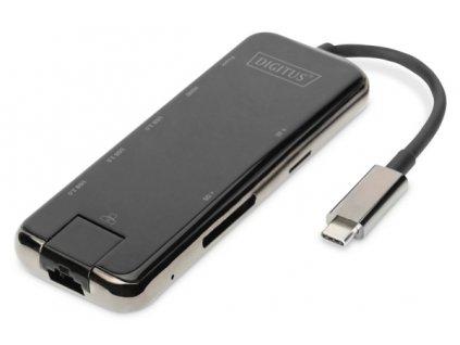Digitus Dokovací stanice USB-C, 8 portů, šedá HDMI, RJ45, 3x USB 3.0, SD / MicroSD, USB-C (PD)