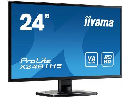 24'' LCD iiyama X2481HS-B1 - VA, 6ms, 250cd/m2, 3000:1 (12M:1 ACR), VGA, DVI, HDMI, repro