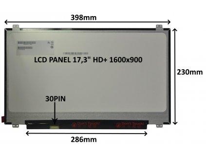 LCD PANEL 17,3'' HD+ 1600x900 30PIN MATNÝ / ÚCHYTY NAHOŘE A DOLE