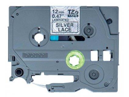 Brother - TZe-MPSL31 páska se stříbrnými vzory / černá (12mm, 4m)