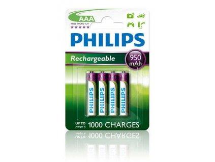 Philips dobíjecí baterie AAA 950mAh, NiMH - 4ks