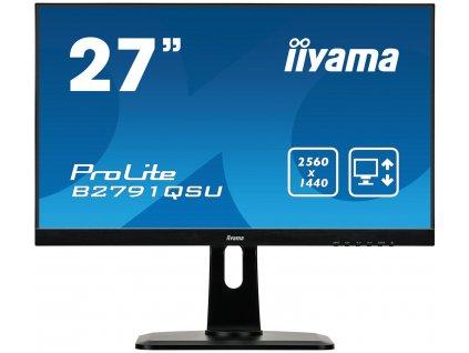 27'' iiyama B2791QSU-B1 - TN,WQHD,1ms,350cd/m2, 1000:1,16:9,DVI,HDMI,DP,USB,repro,výškov.nast.,pivot