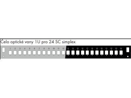 Čelo optické vany 1U pro 24 SC simplex BK