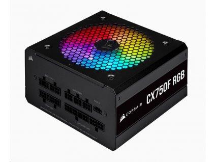 CORSAIR zdroj, CX750F 80+ Bronze modulární RGB, 120mm ventilátor (ATX, 750W), černá