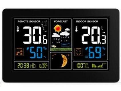 Solight TE81 meteostanice, extra velký barevný LCD, teplota, vlhkost, tlak, RCC, USB nabíjení, černá